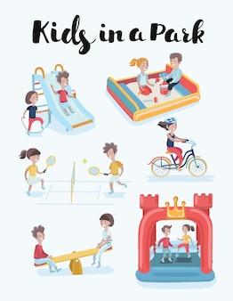 Kinderen op speelplaats illustraties set