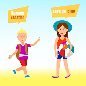 Kinderen op vakantie cartoon poster, briefkaart.