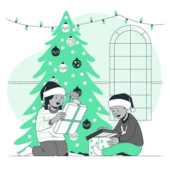 Kinderen openen hun concept illustratie van kerstcadeaus