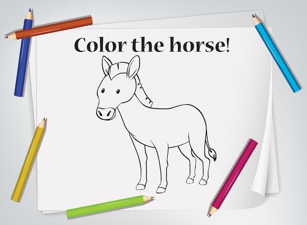Kinderen paard kleurend werkblad