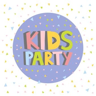 Kinderen partij brief teken poster vectorillustratie.