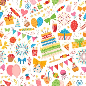 Kinderen partij elementen patroon. voor een verjaardagsfeestje.