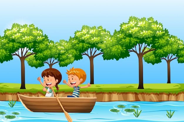 Kinderen peddelen houten boot