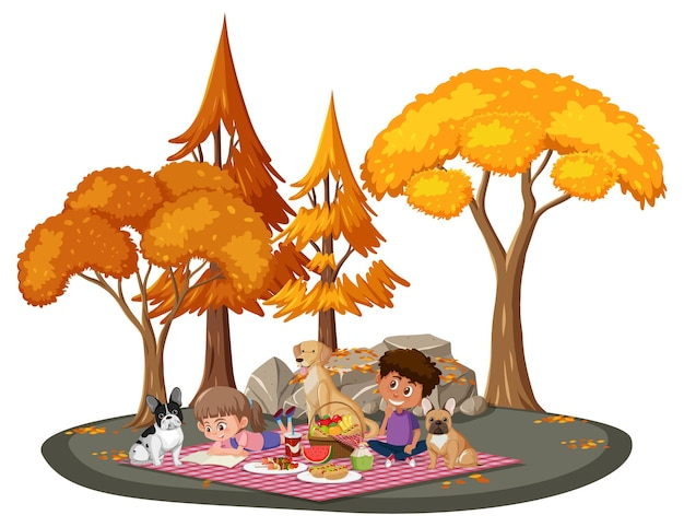 Kinderen picknicken in het park met veel herfstbomen