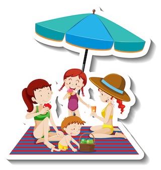Kinderen picknicken op het strand cartoon sticker