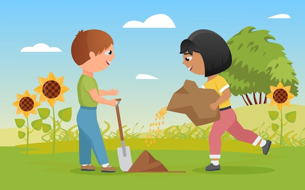 Kinderen planten zaden grappige kindjongen met schop klein gelukkig boerenmeisje aan het planten