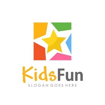 Kinderen plezier, kleuterschool en kinderen logo sjabloonontwerp