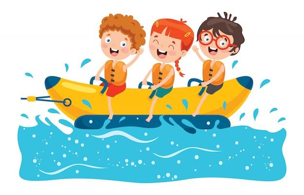 Kinderen plezier op bananenboot