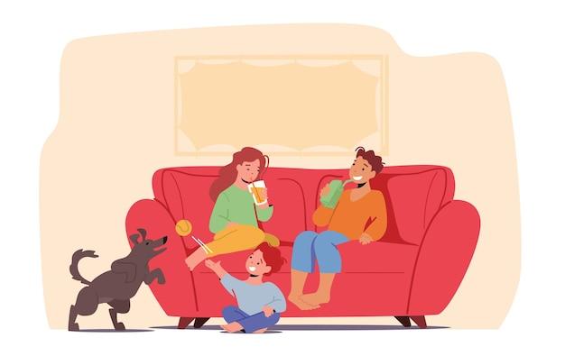 Kinderen plezier thuis concept. kleine kinderen met frisdrank zittend op de bank drankjes drinken en spelen met hond. familiekarakters weekendrecreatie, ontspan. cartoon mensen vectorillustratie