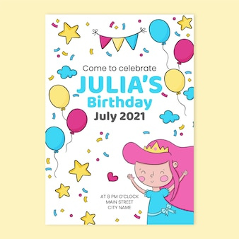 Kinderen prinses verjaardag uitnodiging sjabloon