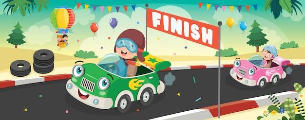 Kinderen racen met grappige auto's