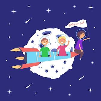 Kinderen raket vliegen maan maanmissie ruimte-excursie sterrenruimte