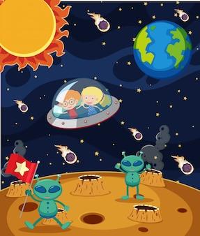 Kinderen reizen in de ruimte