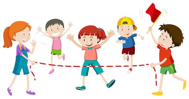 Kinderen rennen in race