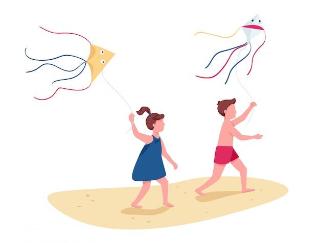 Kinderen rennen met vliegende vliegers egale kleur gezichtsloze karakters
