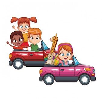 Kinderen rijden in twee auto's