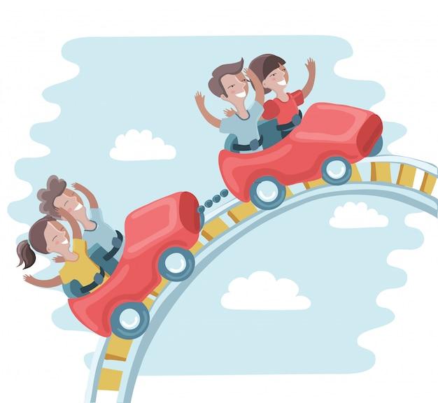 Kinderen rijden op een achtbaan