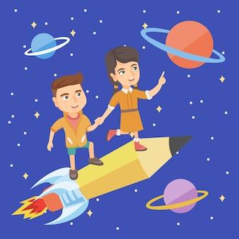 Kinderen rijden op een potlood in de vorm van een spaceshuttle