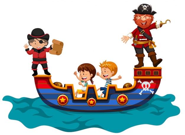 Kinderen rijden op vikingschip