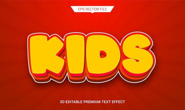 Kinderen rode 3d bewerkbare tekststijl effect premium vector