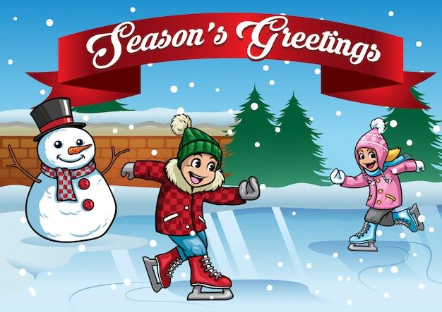 Kinderen schaatsen met sneeuwpop
