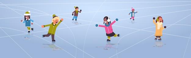 Kinderen schaatsen op ijsbaan wintersport activiteit recreatie op vakantie concept mix race meisjes en jongens samen tijd doorbrengen volledige lengte horizontale vectorillustratie
