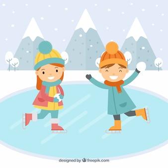 Kinderen schaatsen platte achtergrond