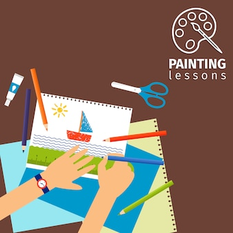 Kinderen schilderen lessen