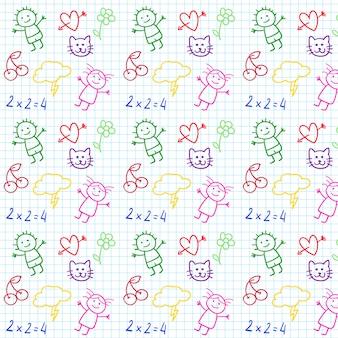 Kinderen school doodles in notitieblok