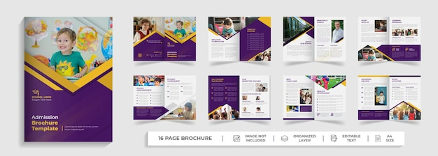 Kinderen schoolonderwijs toelating promotie creatief modern tweevoudig 16 pagina's brochure sjabloon