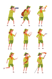 Kinderen scouts. childrens specifieke uniforme camping karakters jongens en meisjes vector karakters. scout uniforme cartoon, gelukkige tieners avontuur illustratie