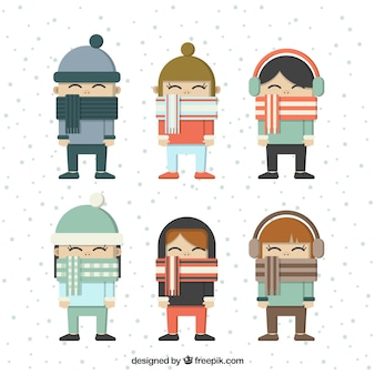 Kinderen set met mooie sjaals in plat design