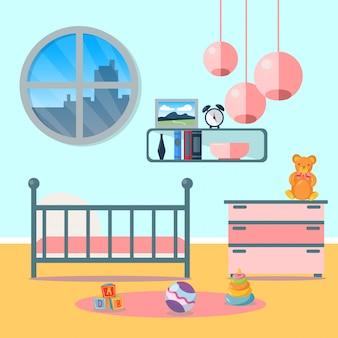 Kinderen slaapkamer interieur. meubels en speelgoed voor kinderen. vector illustratie