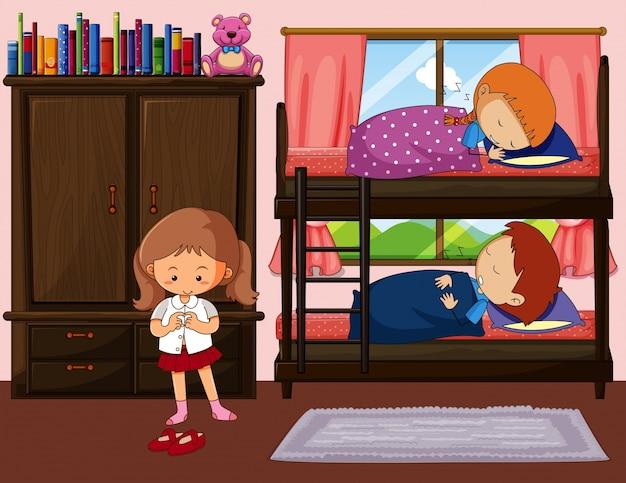 Kinderen slapen in een stapelbed en een meisje krijgt een jurk