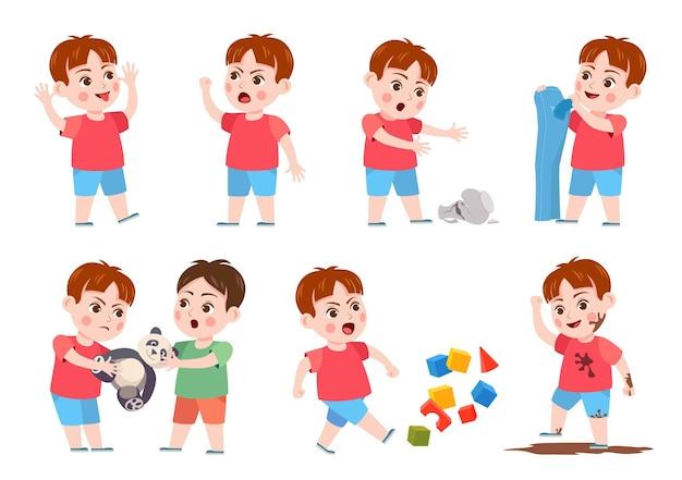 Kinderen slecht gedrag. pestkop maakt rotzooi, schreeuw, boos, scheurt kleren en breekt vaas. stoute jongen die om een stuk speelgoed vecht. probleem kind vector set. kind verpest kubussen, springt in de modder en plaagt