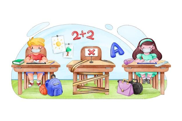 Kinderen sociaal afstand nemen op school Gratis Vector
