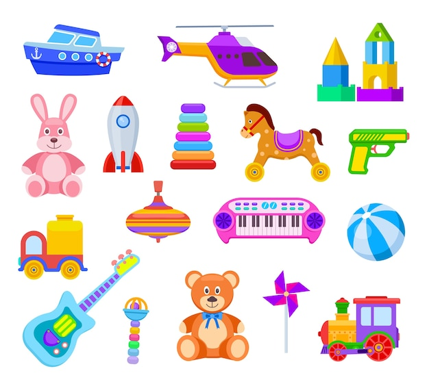 Kinderen speelgoed. gitaar en auto, trein en zweefmolen, beer en haas, helikopter en bal, raket en schip, rammelaar kinderen speelgoed vector set