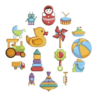 Kinderen speelgoed icon set, cartoon stijl