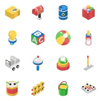 Kinderen speelgoed isometrische vectoren pack