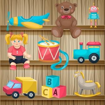 Kinderen speelgoed op planken opstelling