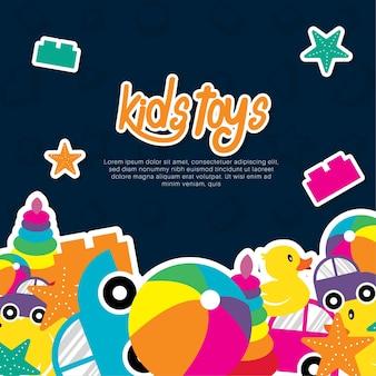 Kinderen speelgoed vector achtergrond sjabloon