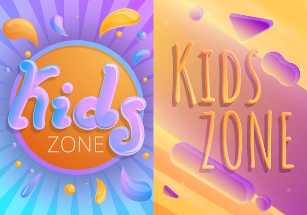 Kinderen speelplaats illustratie set, cartoon stijl