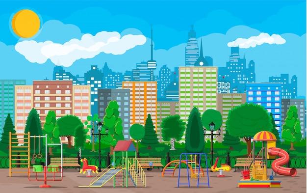 Kinderen speelplaats kleuterschool panorama