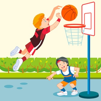 Kinderen spelen basketbal in een speeltuin