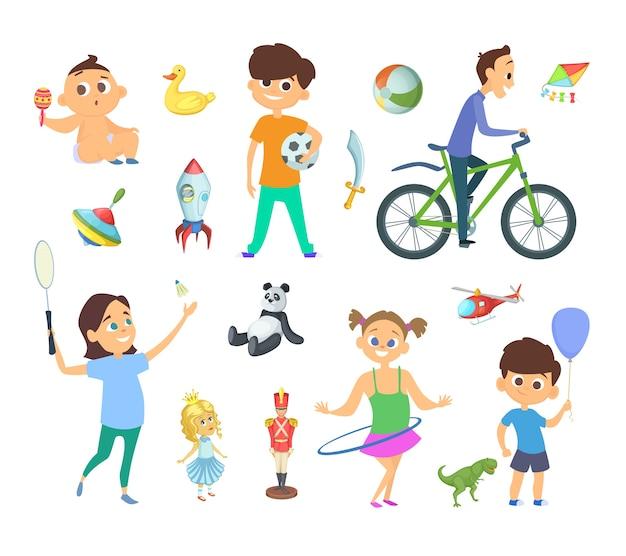 Kinderen spelen bij verschillende spellen en speelgoed. tekens in cartoon-stijl. kinderspel met speelgoed, karakter, meisje en jongen spelillustratie