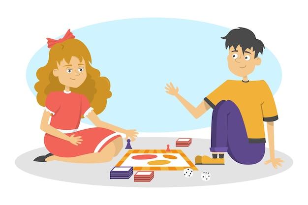 Kinderen spelen bordspel. twee vrienden hebben plezier. meisje en jongen gooien dobbelstenen. illustratie in cartoon-stijl