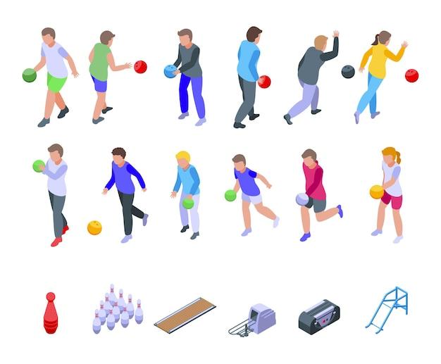 Kinderen spelen bowling pictogrammen instellen. isometrische set van kinderen spelen bowling iconen voor web
