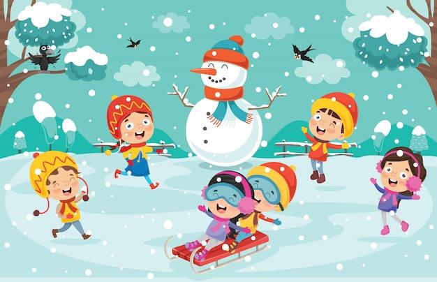 Kinderen spelen buiten in de winter