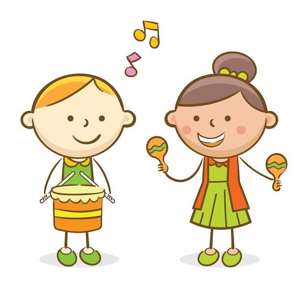 Kinderen spelen drum en trombone