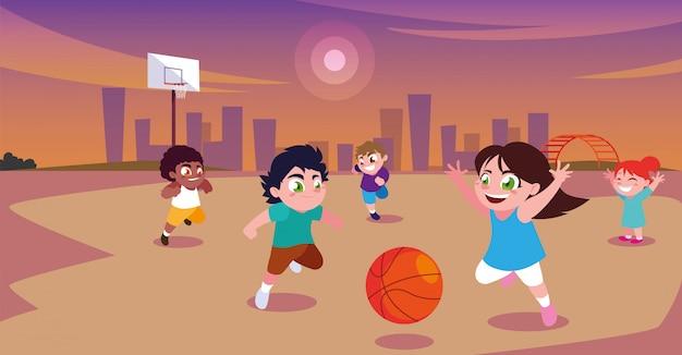 Kinderen spelen en sporten in het stadspark